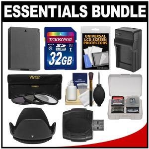 Essentials Bundle for Canon Rebel T5 & T6 DSLR Camera & 18-55mm Lens with 32GB Card + LP-E10 Battery & Charger + 3 UV/CPL/ND8 Filters Kit