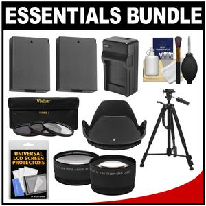 Essentials Bundle for Canon Rebel T5 & T6 DSLR Camera & 18-55mm Lens with (2) LP-E10 Batteries & Charger + Tripod + 3 UV/CPL/ND8 Filters + Tele/Wide Lens Kit