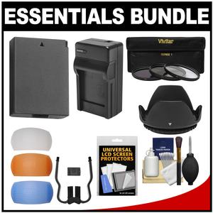 Essentials Bundle for Canon Rebel T5 & T6 DSLR Camera & 18-55mm Lens with LP-E10 Battery + Charger + 3 UV/CPL/ND8 Filters + 3 Color Diffusers + Lens Hood + Kit