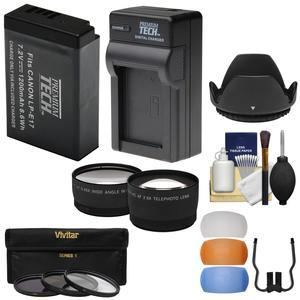 Essentials Bundle for Canon EOS 77D Rebel SL2 T6i T6s T7i DSLR Camera and 18-55mm Lens with LP-E17 Battery and Charger + Tele-Wide Lenses + 3 Filters + 3 Diffusers + Hood + Kit
