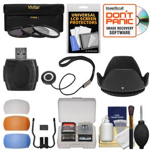 Essentials Bundle for Canon Rebel SL1 T5 T5i T6 T6i T6s T7i Camera and 18-135mm Lens with 3 - UV-CPL-ND8 - Filters + Lens Hood + 4 Pop-up Flash Diffusers + Card Reader + Kit