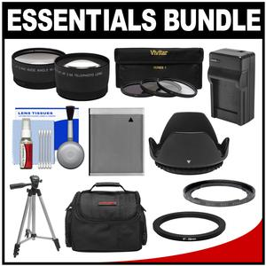 Essentials Bundle for Canon PowerShot SX520 SX530 and SX540 HS Camera with Case + NB-6L Battery and Charger + Tripod + Tele-Wide Lenses + 3 UV-CPL-ND8 Filters Kit