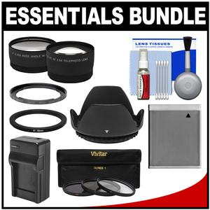 Essentials Bundle for Canon PowerShot SX520 SX530 and SX540 HS Camera with NB-6L Battery and Charger + Tele-Wide Lenses + 3 UV-CPL-ND8 Filters + Accessory Kit