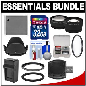 Essentials Bundle for Canon PowerShot SX520 SX530 and SX540 HS Camera with 32GB Card + NB-6L Battery and Charger + Tele Wide Lenses + Accessory Kit