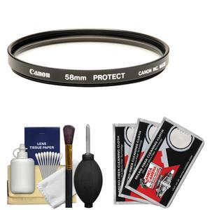 Canon 58mm Screw-in Protection Filter with Lens and Camera Cleaning Kit + Blower