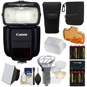 Canon Speedlite 430EX III-RT Flash with Soft Box + Diffuser Bouncer + - 8 - Batteries and Charger + Kit