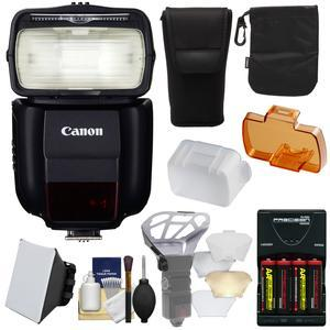Canon Speedlite 430EX III-RT Flash with Soft Box + Diffuser Bouncer + - 4 - Batteries and Charger + Kit