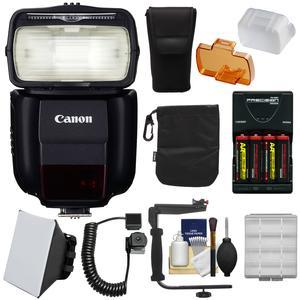 Canon Speedlite 430EX III-RT Flash with Bracket and Cord + Soft Box + Batteries and Charger + Kit