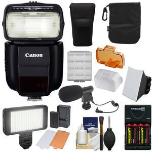 Canon Speedlite 430EX III-RT Flash with Soft Box + Batteries and Charger + LED Video Light and Microphone Kit