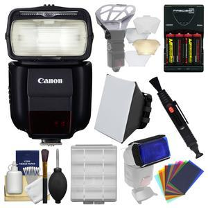 Canon Speedlite 430EX III-RT Flash with Soft Box + Diffuser Bouncer + Color Gels + Batteries and Charger + Kit