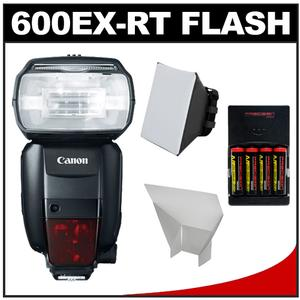 Canon Speedlite 600EX-RT Flash with Soft Box and Reflector and Batteries and Charger