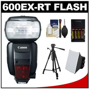 Canon Speedlite 600EX-RT Flash with Tripod and Soft Box and Batteries and Charger and Cleaning Kit