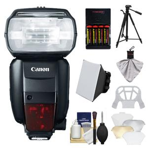 Canon Speedlite 600EX-RT Flash with Tripod and Soft Box and Diffuser and Batteries and Charger and Accessory Kit
