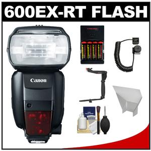 Canon Speedlite 600EX-RT Flash with Bracket and Cord and Reflector and Batteries and Charger and Cleaning Kit