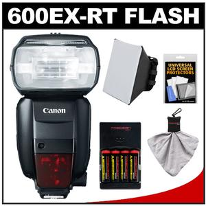 Canon Speedlite 600EX-RT Flash with Batteries and Charger and Diffuser and Accessory Kit