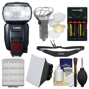 Canon Speedlite 600EX-RT Flash with 4 Batteries and Charger and Soft Box and Diffusers and Sling Strap and Kit