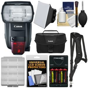 Canon Speedlite 600EX II-RT Flash with Case and Batteries and Charger and Soft Box and Sling Strap and Kit
