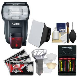 Canon Speedlite 600EX II-RT Flash with Batteries and Charger + Soft Box + Diffuser Bouncer + Kit