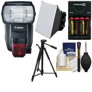 Canon Speedlite 600EX II-RT Flash with Batteries and Charger + Tripod + Soft Box + Kit