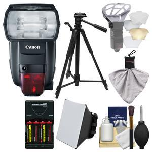 Canon Speedlite 600EX II-RT Flash with Batteries and Charger + Tripod + Soft Box + Diffuser Bouncer + Kit
