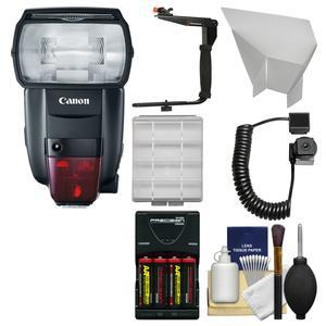 Canon Speedlite 600EX II-RT Flash with Batteries and Charger + Bracket + Cord + Reflector + Kit