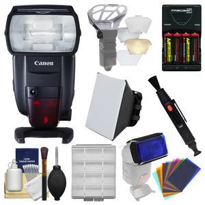 Canon Speedlite 600EX II-RT Flash with Soft Box + Diffuser Bouncer + Color Gels + Batteries and Charger + Kit