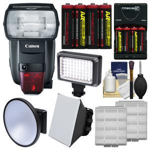 Canon Speedlite 600EX II-RT Flash with Soft Box + Video Light and Diffuser + Batteries and Charger + Kit