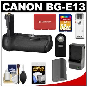 Canon BG-E13 Battery Grip for EOS 6D Digital SLR Camera with Battery & Charger + 32GB Card + RC-6 Remote + Accessory Kit