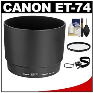 Canon ET-74 Lens Hood for EF 70-200mm f-4 L IS USM 70-200mm f-4 L USM with 67mm UV Filter and Cap Keeper and Lens Cleaning Kit