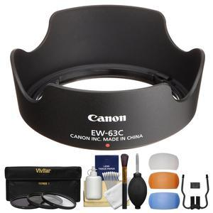 Canon EW-63C Lens Hood for EF-S 18-55mm f-3.5-5.6 IS STM and IS II with 3 UV-CPL-ND8 Filters and Flash Diffusers and Cleaning Kit