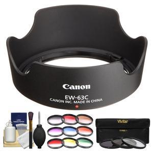 Canon EW-63C Lens Hood for EF-S 18-55mm f-3.5-5.6 IS STM and IS II with 3 UV-CPL-ND8 and 9 Color Filters and Cleaning Kit