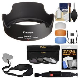 Canon EW-63C Lens Hood for EF-S 18-55mm f-3.5-5.6 IS STM and IS II with 3 UV-CPL-ND8 Filters and Flash Diffusers and Sling Strap and Kit