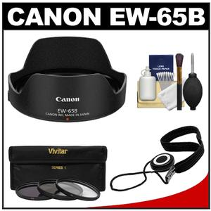 Canon EW-65B Lens Hood for EF 24mm and EF 28mm f-2.8 IS USM with 3-UV-CPL-ND8-Filters and Accessory Kit