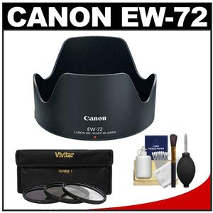 Canon EW-72 Lens Hood for EF 35mm f-2 IS USM with 3 UV-CPL-ND8 Filters and Accessory Kit