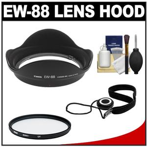 Canon EW-88 Lens Hood for EF 16-35mm f-2.8L ll USM with 82mm UV Filter and Cap Keeper and Lens Cleaning Kit