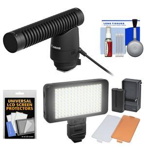 Canon DM-E1 Directional Stereo Microphone with LED Light and Diffusers Set + Cleaning Kit