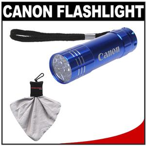 Canon 9 LED Push Button Flashlight - Blue - with Spudz Microfiber Cleaning Cloth