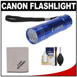 Canon 9 LED Push Button Flashlight - Blue - with Canon Cloth and 6pc Cleaning Kit
