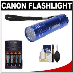 Canon 9 LED Push Button Flashlight - Blue - with Batteries and Charger + Cleaning Kit
