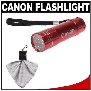 Canon 9 LED Push Button Flashlight - Red - with Spudz Microfiber Cleaning Cloth