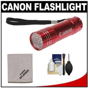 Canon 9 LED Push Button Flashlight - Red - with Canon Cloth and 6pc Cleaning Kit