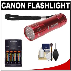 Canon 9 LED Push Button Flashlight - Red - with Batteries and Charger + Cleaning Kit