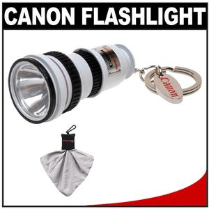 Canon OIS Lens LED Flashlight Keychain with Spudz Microfiber Cleaning Cloth