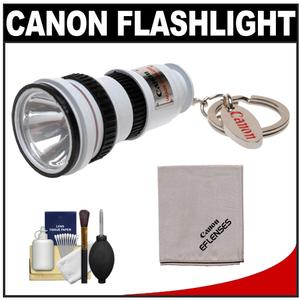 Canon OIS Lens LED Flashlight Keychain with Canon Cloth and 6pc Cleaning Kit