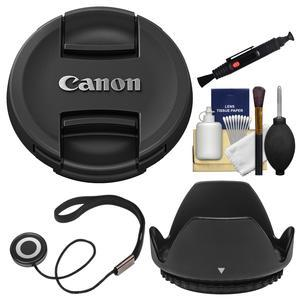 Canon E-77II 77mm Snap-On Lens Cap with Hood and CapKeeper and Cleaning Kit