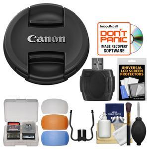 Canon E-82II 82mm Snap-On Lens Cap with Flash Diffusers and Card Reader and Cleaning Kit
