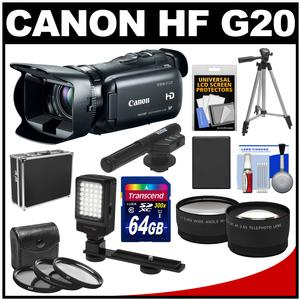 Canon Vixia HF G20 32GB Flash Memory 1080p HD Digital Video Camcorder with 64GB Card + Battery + Case + Microphone + LED Light + Tripod + Tele/Wide Lens Kit