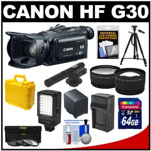 Canon Vixia HF G30 Flash Memory Wi-Fi 1080p HD Digital Video Camcorder with 64GB Card + Battery/Charger + Case + LED + Mic + Filters + Tripod + Tele/Wide Lenses