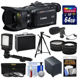 Canon Vixia HF G40 Wi-Fi 1080p HD Digital Video Camcorder with 64GB Card + Battery + Hard Case + Tripod + LED + Mic + Telephoto and Wide Lenses + Kit