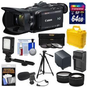 Canon Vixia HF G40 Wi-Fi 1080p HD Digital Video Camcorder with 64GB Card + Battery and Charger + Hard Case + Tripod + LED + Mic + Tele and Wide Lens Kit